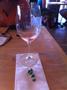 The Patio Rosé with some wasabi peas.