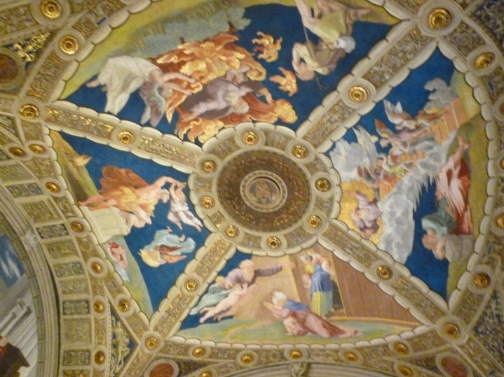 Ceiling art, this isn't even the stuff we look at all day, it's the stuff when you happen to gaze upwards. The painting and the plaster and the gold inlay.